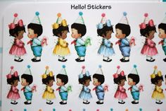 African American Boy and Girl Birthday Party by hellostickers
