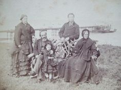 19th Victorian REAL PHOTO Stereoview Stereoscope Card Slide FAMILY MARGATE PIER