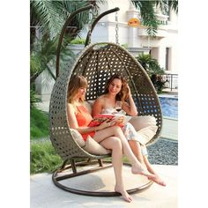Island Gale Luxury 2 Person Wicker Swing Chair with Stand and Cushion Outdoor Porch Furniture Lbs 2 Hanging Poles for Extra Safety – Perfect for Patio Garden Porch Indoor Bedroom Reading - Modern Wicker Porch Swing, Egg Swing Chair, Hanging Swing Chair, Patio Swing, Swinging Chair, Swing Chairs, Porch Swings, Hanging Chairs, Outdoor Wicker Furniture