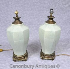 - Gorgeous pair of French porcelain table lamps with green finish<br> - Wonderful pair just waiting for the right matching lampshade<br> - Great find at Les Puces antiques market in Paris<br> - These are wired for European market but can be easily converted for UK and US markets<br> - Come view these in our Canonbury Antiques Hertfordshire showroom, just 25 minutes north of London<BR> - Offered in great shape ready for home use right away<BR> - We can ship to anywhere in the world - please g... Antique Table Lamps, Antique Market, Urn, Lamp Light, Showroom, Waiting, Porcelain, London, French
