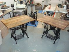 Old Treadle Sewing Machine Computer Desks:I used a product called Rost Umwandler (Rust Converter). I had never used it before and had little faith in . Sewing Machine Desk, Treadle Sewing Machines, Antique Sewing Machines, Repurposed Furniture, Diy Furniture, Singer Table, Sewing Cabinet, Cutting Tables, Sewing Rooms