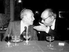 Borges todo el año: Juan Carlos Onetti: Borges, su madre y Utrillo - Foto: Borges y Onetti en Barcelona por Dorothea Muhr (1978)