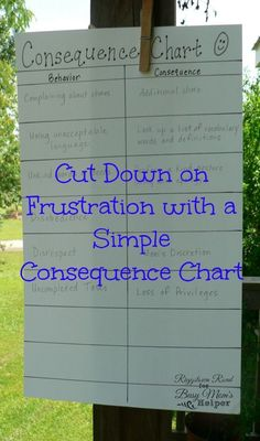 This consequence chart for parents and kids is brilliant! Work together to make a chart with appropriate consequences instead of just reacting in the heat of the moment. Everyone knows what to expect!