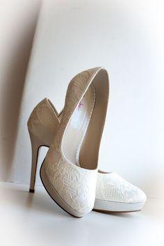 Pale Ivory lace wedding shoes