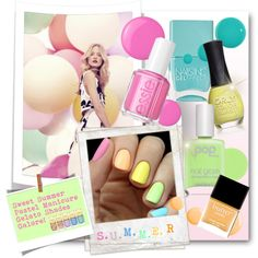 #Sweet Summer Manicure - Gelato Shades by nikkisg on Polyvore featuring polyvore beauty Pop Beauty Nails Inc. Essie ORLY Butter London Accessorize Michael Kors Topshop Monday Polaroid summermani