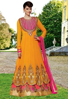 #Orange #Georgette #Chuddidar #Kameez with #Dupatta  #Orange #Georgette #kameez designed with Zari,Resham Embroidery With #Stone #Work And #Lace #Border #Work.  INR: 6,698 only  With #Amazing #Discounts  Grab At http://tinyurl.com/hzuqf2p