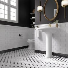 Create a dramatic look in your bath with penny tile and brass accents. A pair of sconces provide a modern alternative to traditional vanity lighting. Wc Retro, Honeycomb Tile, Penny Tile, Ceramic Subway Tile, Bathroom Floor Tiles, White Bathroom Wall Tiles, Master Bathroom, Bathroom Cladding, Condo Bathroom