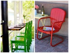 Upcyled Retro Chairs - Choose a bright color on your porch for curb appeal! Front Porch Ideas on Frugal Coupon Living - Inspire Your Welcome This Spring!