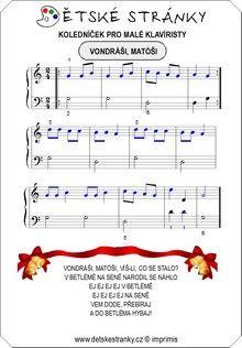 Koledníček pro malé klavíristy Sheet Music, Words, Music Sheets, Horse