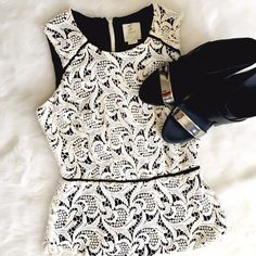 """Maeve Lace Peplum Sleeveless Top Excellent condition, sale mark to tag as shown, no other flaws! Bust: 15"""", Waist: 12"""" Length: 23"""". Anthropologie Tops"""