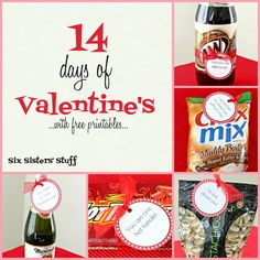 14 Days of Valentine's Day Gifts with free printables from sixsistersstuff.com.  Check out these creative ideas to surprise your significant other! #Valentines #gifts