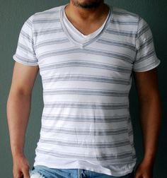 Double V Neck  Stripe by OraApparel on Etsy, $28.00