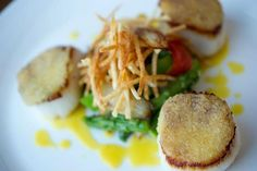 Roasted Scallops- Bergamot orange flavor, stuffed fennel confit, fennel salad, crustacean verbena jus