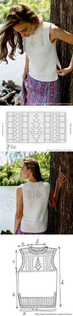 Garter Stitch Panel Top by Amanda Jones Knitting Stiches, Knitting Charts, Lace Knitting, Bolero, Summer Knitting, Knitwear, Knitting Patterns, Knit Crochet, Amanda Jones