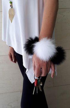 Fur  pompom keychain bracelet. Black and White pompom keyring and bracelet.
