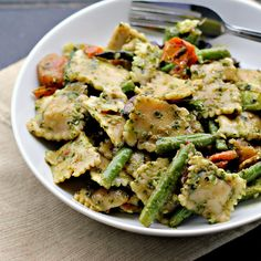 Pesto Pasta Salad with Roasted Asparagus, String Beans, Cherry Tomatoes, and Olives