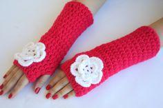 Dark Pink fingerless gloves with Cream flower by BloomedFlower, $23.00