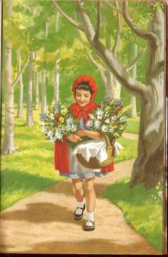 Little Red Riding Hood - carries on her way to Grandmother's laden with flowers..