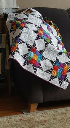Spring is finally here! In celebration of the season, I've gathered a handful of patchwork quilts inspired by blooming gardens and spring break travels. Lap Quilts, Scrappy Quilts, Mini Quilts, Bright Quilts, Colorful Quilts, Star Quilt Blocks, Star Quilt Patterns, Polka Dot Quilts, Vintage Star
