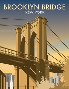 This Brooklyn Bridge Art Print is created using state of the art, industry leading Digital printers. The result - a stunning reproduction at an affordable price. A stunning Art Print featuring the design of the Brooklyn Bridge, New York. Brooklyn Bridge New York, Railway Posters, Portsmouth, Nyc Art, Art Deco Posters, New York Art, Vintage Travel Posters, Art Nouveau, Art Print