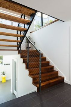 Featured, Modern Iron Hand Railing With Wooden Stairs Gray Ceramic Tiles Floor Iron Railing ~ Awesome Iron Hand Railing for Inside and Outdoor Stairs Design Tile Stairs, Wood Stairs, House Stairs, Painted Stairs, Wooden Staircase Design, Wooden Staircases, Stair Design, Stairways, Staircase Makeover