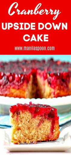 With a tender crumb and deliciously sweet-tangy flavor this Cranberry Upside Down Cake is the best cake for the holidays! So good one slice is not enough! Homemade Cake Recipes, Best Dessert Recipes, Fruit Recipes, Cupcake Recipes, Fun Desserts, Sweet Recipes, Delicious Desserts, Cooking Recipes, Drink Recipes