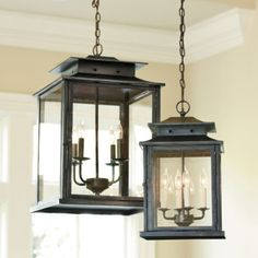 small lanterns for over island, large for foyer