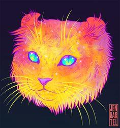 Explosão de cores psicodélicas na série 'Galactic Cats', de Jen Bartel – Ideia Quente