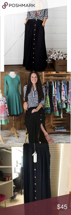 Matilda Jane Joanna Gaines skirt MJ Joanna Gaines black skirt. Brand new with tags size small. Matilda Jane Skirts Maxi