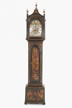 GEORGIAN CHINOISERIE LACQUERED TALL CASE CLOCK