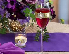 Wine glass with gold gem band
