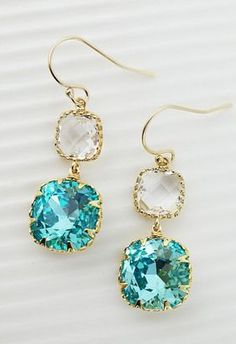 Light Turquoise Swarovski Crystal with Clear Glass Dangle Earrings