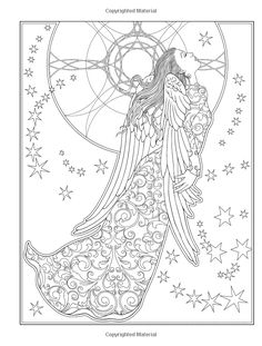 Creative Haven Elegant Angels Coloring Book by Marty Noble Dover Publications Angel Coloring Pages, Free Adult Coloring Pages, Fairy Coloring, Disney Coloring Pages, Christmas Coloring Pages, Colouring Pages, Free Coloring, Coloring Sheets, Kids Coloring