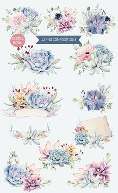 Oh my Succulents watercolor set by Lemaris on Creative Market – Ideen finanzieren Watercolor Succulents, Floral Watercolor, Watercolor Paintings, Free Watercolor Flowers, Pastel Watercolor, Printable Stickers, Planner Stickers, Tatto Floral, Logo Fleur