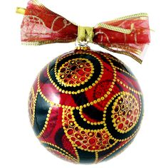 """""""Christmas Spirit"""" Stained Glass Hand Painted Christmas Ball Ornament Limited 