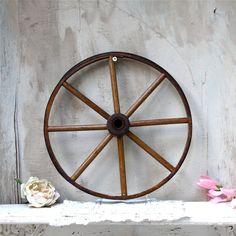 Vintage antique wooden wagon wheel decorative by oldkeysvintage, $128.00