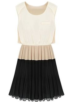 Contrast Black Sleeveless Pleated Dress
