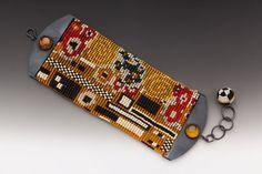 Klimt Jewelry, Klimt Kiss Bracelet, Beaded Cuff, loom work cuff, Klimt beadwork, handmade by artist, wiener werkstaette, klimt beadwork