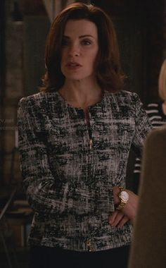 Alicia's black and white printed zip front jacket on The Good Wife.  Outfit Details: http://wornontv.net/23229/ #TheGoodWife