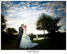 jacksonville wedding photographer; nocatee wedding photographer; jacksonville beach wedding; purple and blue wedding; tonya beaver photography; sunset wedding photos, wedding clouds