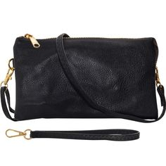 Humble Chic Vegan Leather Small Crossbody Bag or Wristlet Clutch Purse, Includes Adjustable Shoulder and Wrist Straps, Small Crossbody Purse, Crossbody Wallet, Clutch Wallet, Leather Clutch, Black Clutch, Small Shoulder Bag, Cross Body Handbags, 6s Plus, Vegan Leather