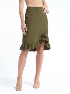 Banana Republic Ruffled pencil skirt. Love the sage color.