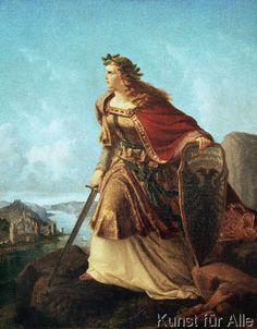 """Lorenz Clasen """"Germania auf der Wacht am Rhein"""", 1860 Fantasy Warrior, Fantasy Art, Medieval Fashion, Traditional Paintings, Women In History, Akita, Ancient Art, Historical Photos, Dark Art"""