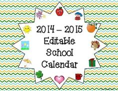 This is a printable and editable 2014-2015 school calendar that any teacher, counselor, or school staff member can use to keep themselves organized.  All you have to do is download and print.  Since this calendar is editable, you can add text boxes or pictures of your own.