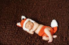 Newborn Fox Crochet Outfit / Photo Prop by BrianaKcrochet on Etsy, $40.00