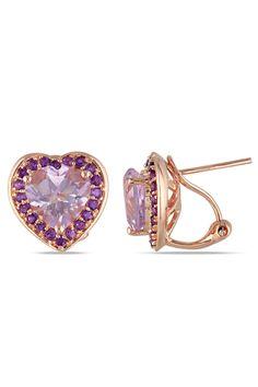 Hearts, Hearts, Hearts 5.5ct Rose De France, Amethyst & Pink Silver Earrings