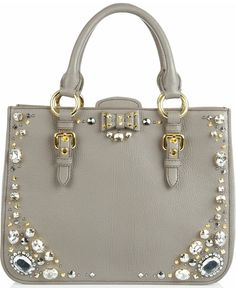 to love or to hate | Miu Miu Crystal-Embellished Studded Leather Tote