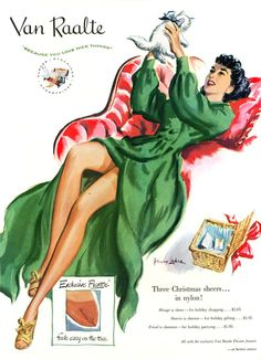 Real Christmas stockings! Van Raalte charming illustrated ad from 50's.