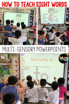 Many kids struggle to build sight word fluency. Using their bodies to spell words is a great way to incorporate movement into sight word instruction! This free body-spelling PowerPoint helps students learn sight words using visual, auditory, reading, writ Teaching Sight Words, Sight Word Practice, Sight Word Games, Sight Word Activities, Classroom Activities, Classroom Ideas, Sight Word Wall, Listening Activities, Spelling Activities