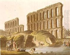 Ruins of the Grand Aqueduct of Ancient Carthage plate 23 from Views in the Ottoman Empire by Luigi Mayer